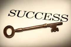 Key to Success. Skeleton key with the word SUCCESS Royalty Free Stock Photos