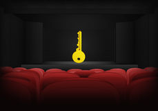 Key to success on the stage in theater interior vector Royalty Free Stock Photos