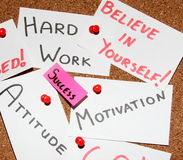 Key to success!. Sticky notes forming formula of success. In the middle word - success! Around believe in yourself, motivation, hard work, attitude Stock Image