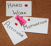 Key to success!. Sticky notes forming formula of success. In the middle word - success! Around believe in yourself, motivation, hard work, attitude Stock Photos