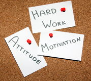 Key to success!. Sticky notes forming formula of success. In the middle word - success! Around believe in yourself, motivation, hard work, attitude Stock Photo