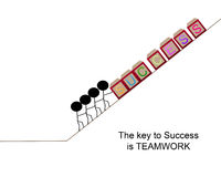 The key to success is teamwork. Stick figures pushing blocks that spell out success up a hill Stock Photo