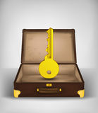 Key to travel in open travel suitcase transport concept vector Stock Photo