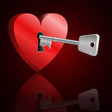 Key to unlock heart. Stock Image