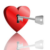 Key to unlock heart. Stock Photos