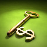 Key to wealth. A key with a dollar-sign implemented on a green surface Stock Photos