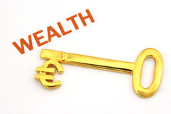 Key to wealth - euro. A gold key with the word wealth Royalty Free Stock Photo