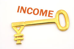 Key to wealth - yen. A gold key with a yen symbol and the word income Royalty Free Stock Photo
