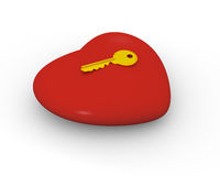 Key to your heart. Golden key on the top of big red heart Royalty Free Stock Image