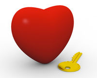 Key to your heart. Golden key next to big red heart Royalty Free Stock Image