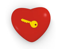 Key to your heart. Golden key on the top of big red heart Stock Image