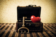 Key, treasure chest and heart Royalty Free Stock Photos
