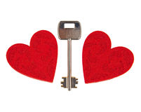 Key between two hearts Stock Photography