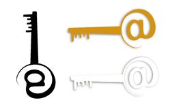@key for unlocking the internet revolution. Symbolic @ key illustration representing access to the internet Royalty Free Stock Photo