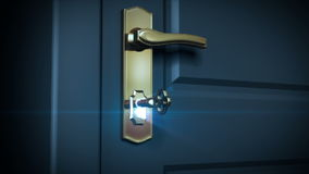 Key unlocking lock and door opening to a bright light. HD 1080. Alpha mask included.  stock footage