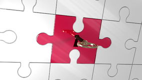 Key unlocking red piece of puzzle showing creativity stock footage
