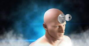Key unlocking the surreal imagination of 3D mans head. Digital composite of Key unlocking the surreal imagination of 3D mans head Royalty Free Stock Image