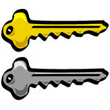 Key vector cartoon style gold and silver Royalty Free Stock Image