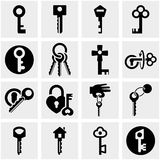 Key vector icons set on gray. Stock Image