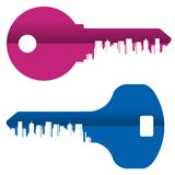 Key vector logo design template. City or Royalty Free Stock Photo