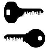 Key vector logo design template. City or town icon Stock Photos