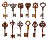 Key and vintage skeleton isolated sketch. Key and vintage skeleton key isolated sketch. Metal door key, decorated with ornamental forged elements on bow and tip Royalty Free Stock Photography