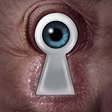 Key Vision. Concept as a human eye shaped as a keyhole symbol as a business metaphor for finding the solution from within and being a visionary of innovation Royalty Free Stock Photo