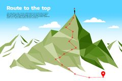 Route to the top of mountain: Concept of Goal, Mission, Vision, Career path, Polygon dot connect line style stock illustration
