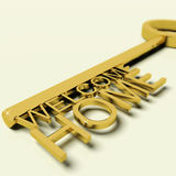 Key With Welcome Home Text As Symbol For Property And Ownership Royalty Free Stock Photos