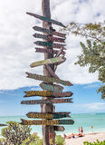 Key West beach distance signs to worldwide landmarks in Fort Zac Stock Image