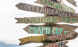 Key West beach distance signs to worldwide landmarks in Fort Zac Royalty Free Stock Image