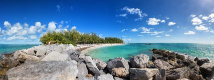 Key west beach panorama. Public beach panorama in Fort Zachary Taylor State Park, Key West, Florida Keys Royalty Free Stock Photo