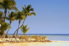 Key West Beach Scene. A beach and some tables on in island in key west Stock Photography