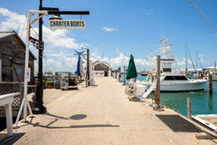 Key West Bight Marina. KEY WEST, FLORIDA USA - JUNE 26, 2014: Charter boats available for hire at the Bight Marina in Key West royalty free stock images