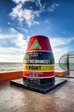 The Key West Buoy sign. Marking the southernmost point on the continental USA and distance to Cuba, Florida royalty free stock photography