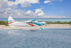 Key West Charter Seaplane. At Dry Tortugas National Park stock photos