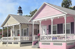 Key West Cottages and lighthouse, Florida Stock Photography