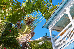 Key west downtown street houses in Florida Stock Image