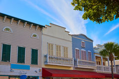 Key west downtown street houses in Florida Royalty Free Stock Image