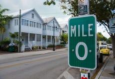Key West Milemarkör 0 Royaltyfri Fotografi
