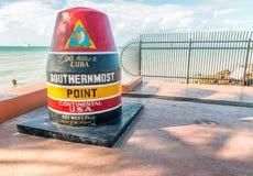 KEY WEST, FL - 21 FEBBRAIO 2016: Posta più a sud del punto avanti Fotografie Stock