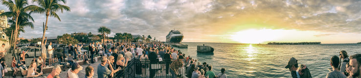 KEY WEST, FL - FEBRUARY 2016: Tourists awaits sunset in Mallory Stock Images