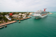 Aerial image of Carnival Freedom at Key West. KEY WEST, FL, USA - JULY 15, 2017: Aerial photo of Carnival Freedom cruise ship at Port Key West Florida Royalty Free Stock Photos