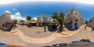 Street scene Key West Florida USA 360 vr image. KEY WEST, FL, USA - JUNE 20, 2018: VR image of Key West Florida spherical equirectangular Stock Photography
