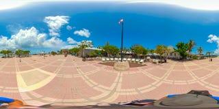 Street scene Key West Florida USA 360 vr image. KEY WEST, FL, USA - JUNE 20, 2018: VR image of Key West Florida spherical equirectangular Royalty Free Stock Photos
