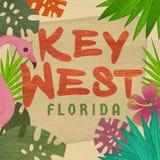Key West Florida Art Invitation Tropical Sign. Flamingo Palm Trees Beach Travel Keys Fishing Hemmingway royalty free illustration
