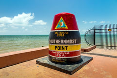 The Key West, Florida Buoy sign marking the southernmost poin Royalty Free Stock Photography