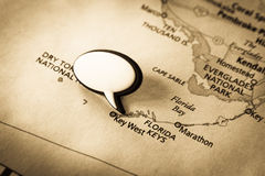 Key West, Florida map. Image of old vintage map with word bubble for text. Main focusion Key West, Florida stock photos