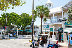 KEY WEST, FLORIDA USA - APRIL 13, 2015: The historic and popular center and Duval Street in downtown Key West. Stock Photography