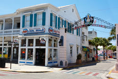 KEY WEST, FLORIDA USA - APRIL 13, 2015: The historic and popular center and Duval Street in downtown Key West. Stock Images